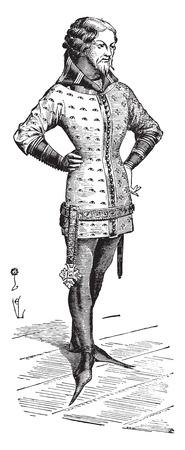 gentlemen: Gentleman dressed in the jacket around 1360, vintage engraved illustration. Industrial encyclopedia E.-O. Lami - 1875.