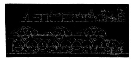 Overview of a continuous paper machine, vintage engraved illustration. Industrial encyclopedia E.-O. Lami - 1875.