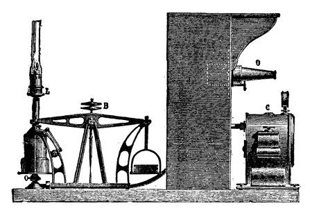 Fotometers Dumas en Regnault, vintage gegraveerde illustratie. Industriële encyclopedie E.-O. Lami - 1875. Stock Illustratie