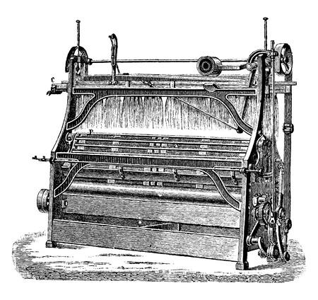 Peinadora Ropa blanca, ilustración de la vendimia grabado. E.-O. enciclopedia Industrial Lami - 1875. Foto de archivo - 41721147