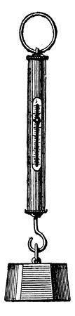 Peson cylindrical spring, vintage engraved illustration. Industrial encyclopedia E.-O. Lami - 1875. Stock Illustratie