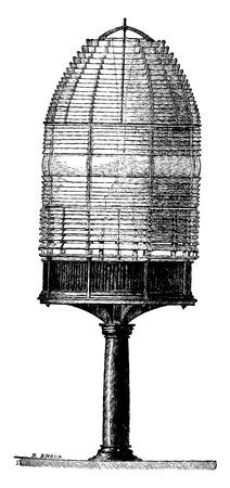 Fixed fire apparatus, vintage engraved illustration. Industrial encyclopedia E.-O. Lami - 1875.