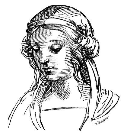representations: Drawings by Raphael, vintage engraved illustration. Industrial encyclopedia E.-O. Lami - 1875. Illustration