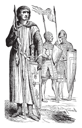warriors: Warriors of the twelfth century, vintage engraved illustration. Industrial encyclopedia E.-O. Lami - 1875.