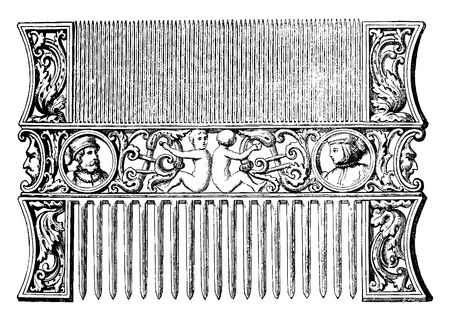 comb: Carved ivory comb (sixteenth century collection Sauvageot, Louvre), vintage engraved illustration. Industrial encyclopedia E.-O. Lami - 1875. Illustration