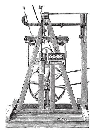 industrial belt: Dynamometer belt Tatham, vintage engraved illustration. Industrial encyclopedia E.-O. Lami - 1875.