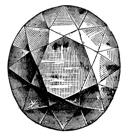 engraving: The Koh-i-noor, vintage engraved illustration. Industrial encyclopedia E.-O. Lami - 1875. Illustration