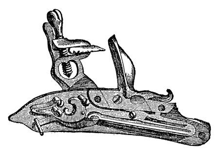 Flintlock, vintage gegraveerde illustratie. Industrial encyclopedie E.-O. Lami - 1875. Stock Illustratie