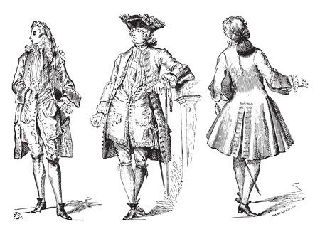 dress coat: Elegante (Regency) abito di corte cappotto e la citt� (1729), vintage illustrazione inciso. Enciclopedia Industrial E.-O. Lami - 1875. Vettoriali