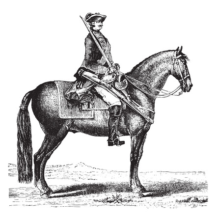 old horse: The Cavalier, after the Monsigny (1766), vintage engraved illustration. Industrial encyclopedia E.-O. Lami - 1875.