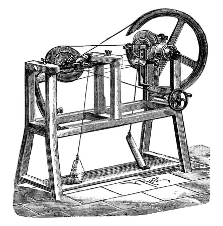 Flattening for cotton sewing, vintage engraved illustration. Industrial encyclopedia E.-O. Lami - 1875.