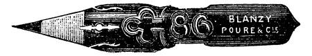 sharpening: Pen after sharpening, vintage engraved illustration. Industrial encyclopedia E.-O. Lami - 1875.