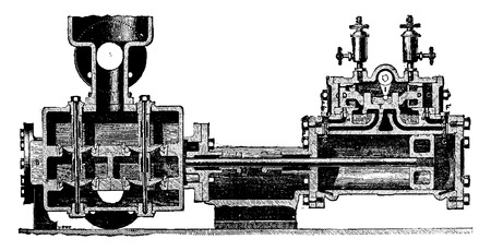 industrial machinery: Steam pump direct action, M.Tangye, vintage engraved illustration. Industrial encyclopedia E.-O. Lami - 1875.