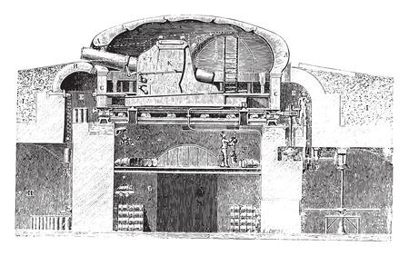 Armored turret cast hard (Gruson system), vintage engraved illustration. Industrial encyclopedia E.-O. Lami - 1875.