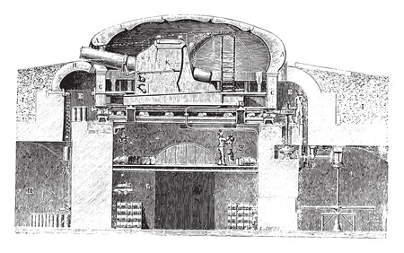 turret: Armored turret cast hard (Gruson system), vintage engraved illustration. Industrial encyclopedia E.-O. Lami - 1875.