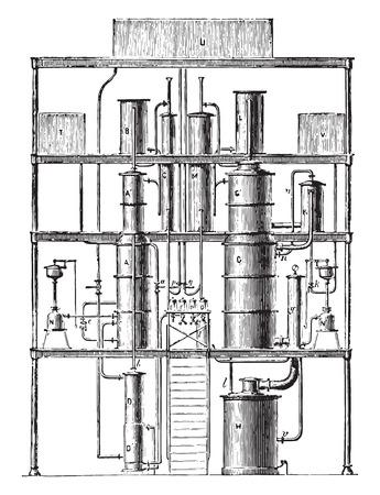 Continuous Purifier phlegm (first unit), vintage engraved illustration. Industrial encyclopedia E.-O. Lami - 1875.