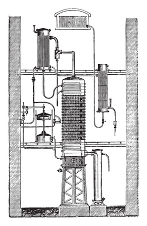 Savalle column, vintage engraved illustration. Industrial encyclopedia E.-O. Lami - 1875. 向量圖像