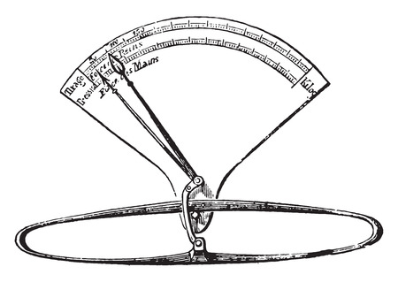 Spring balance, vintage engraved illustration. Industrial encyclopedia E.-O. Lami - 1875.