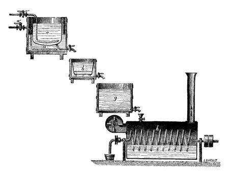 enzyme: Apparatus for the manufacture of dextrin by diastase, vintage engraved illustration. Industrial encyclopedia E.-O. Lami - 1875. Illustration