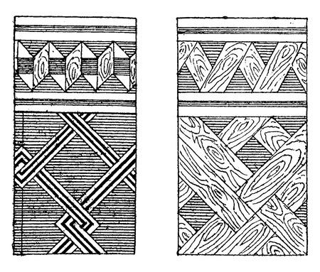 marqueteria: Parquets y marqueter�a mosaico, ilustraci�n de la vendimia grabado. E.-O. enciclopedia Industrial Lami - 1875.