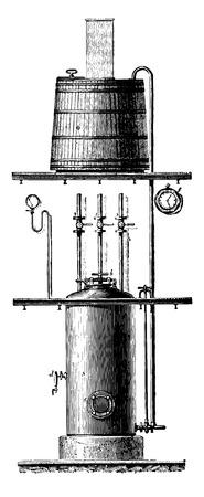 metodo cientifico: Sacarificación bajo presión, Colani y el dispositivo de Kruger, ilustración de la vendimia grabado. E.-O. enciclopedia Industrial Lami - 1875.