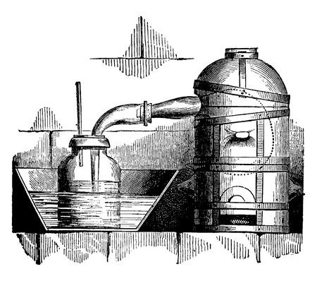 furnace: Reverberator furnace, vintage engraved illustration. Industrial encyclopedia E.-O. Lami - 1875. Illustration