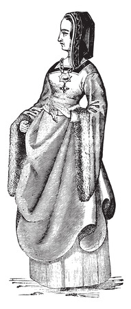 condition: Lady condition by Louis XII business suit, vintage engraved illustration. Industrial encyclopedia E.-O. Lami - 1875.