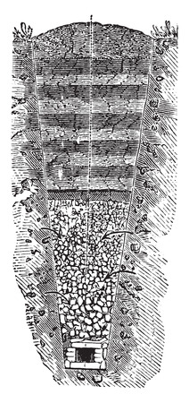 infiltration: Stone aqueduct to bring groundwater infiltration, vintage engraved illustration. Industrial encyclopedia E.-O. Lami - 1875. Illustration