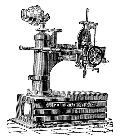 industrial machine: Machine to drilling radial, vintage engraved illustration. Industrial encyclopedia E.-O. Lami - 1875.