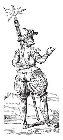 Beefeater in 1563, vintage engraved illustration. Industrial encyclopedia E.-O. Lami - 1875. Illusztráció