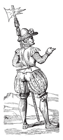 Beefeater in 1563, vintage engraved illustration. Industrial encyclopedia E.-O. Lami - 1875. Illustration