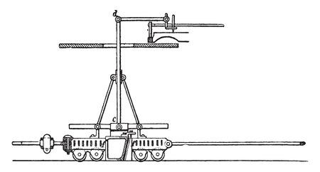 elevation: Elevation of the dynamometer Co. East, vintage engraved illustration. Industrial encyclopedia E.-O. Lami - 1875. Illustration