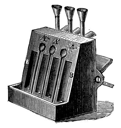 Grid for burning oil, vintage engraved illustration. Industrial encyclopedia E.-O. Lami - 1875. Vettoriali