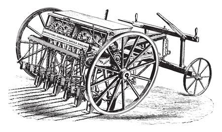 Seeder Smyth, vintage engraved illustration. Industrial encyclopedia E.-O. Lami - 1875.