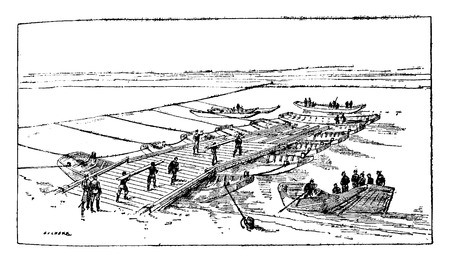 Construction of a bridge of boats, vintage engraved illustration. Industrial encyclopedia E.-O. Lami - 1875. Ilustração