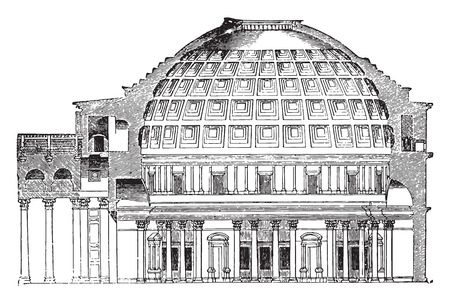 pantheon: Cup Pantheon of Agrippa, vintage engraved illustration. Industrial encyclopedia E.-O. Lami - 1875.