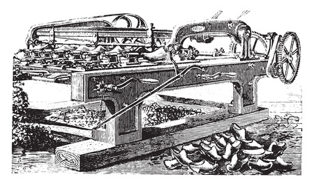 lathe: Shaping machine hooves, vintage engraved illustration. Industrial encyclopedia E.-O. Lami - 1875. Illustration