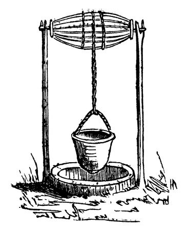 well: Wells in Roman times, vintage engraved illustration. Industrial encyclopedia E.-O. Lami - 1875. Illustration