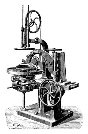 antique factory: Machine for making oval platters, vintage engraved illustration. Industrial encyclopedia E.-O. Lami - 1875. Illustration