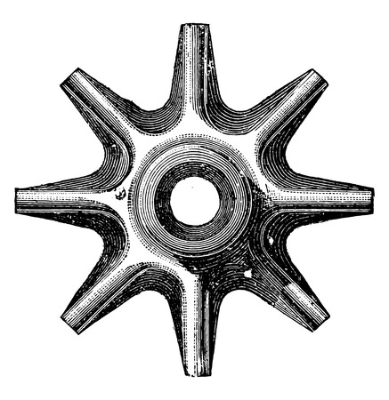 iron: Cutting the iron hub forming a single piece with the spokes of the wheel mixed, vintage engraved illustration. Industrial encyclopedia E.-O. Lami - 1875.