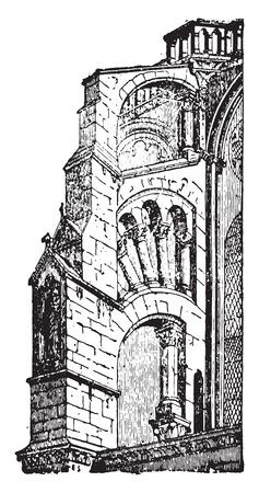 stonework: Buttress Chartres, vintage engraved illustration. Industrial encyclopedia E.-O. Lami - 1875.