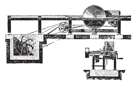 Circular Saw with trolley, vintage engraved illustration. Industrial encyclopedia E.-O. Lami - 1875.