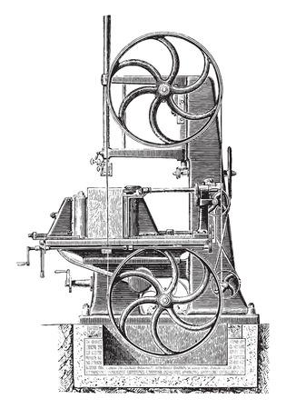 mechanism: Bandsaw, vintage engraved illustration. Industrial encyclopedia E.-O. Lami - 1875. Illustration