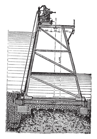 old barn: Rideau articolata applicato case coloniche e verricello operativo, vintage illustrazione inciso. Enciclopedia Industrial E.-O. Lami - 1875.
