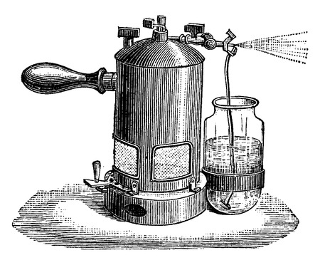 liter: Liter sprayer, vintage engraved illustration. Industrial encyclopedia E.-O. Lami - 1875.