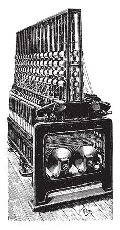 twisting: Twisting machine rings, vintage engraved illustration. Industrial encyclopedia E.-O. Lami - 1875. Illustration