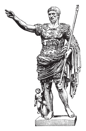 Statue of Augustus, vintage engraved illustration. Industrial encyclopedia E.-O. Lami - 1875. Vettoriali