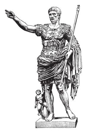 roman empire: Statue of Augustus, vintage engraved illustration. Industrial encyclopedia E.-O. Lami - 1875. Illustration