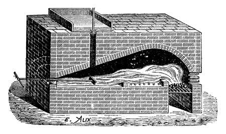 furnace: Furnace for the production of potash beet, vintage engraved illustration. Industrial encyclopedia E.-O. Lami - 1875. Illustration