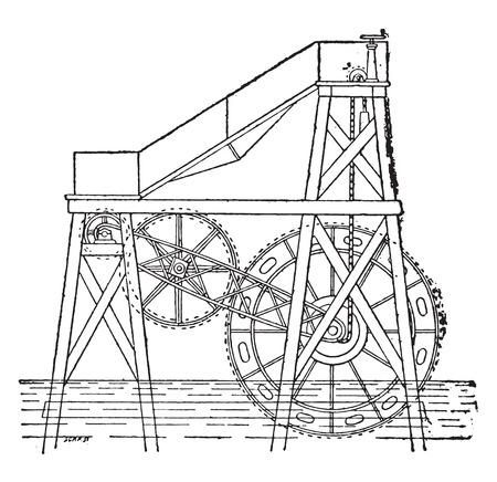 미스터 Colladon 부동 휠, 빈티지 새겨진 된 그림. 산업 백과 사전 E.-O. 라미 - 1875. 일러스트